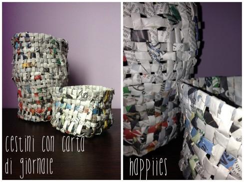 Cestini di giornale riciclati